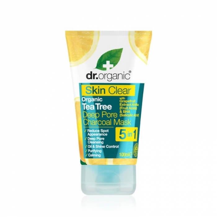 Skin clear Maschera biologica al carbone con olio di tea tree Dr Organic