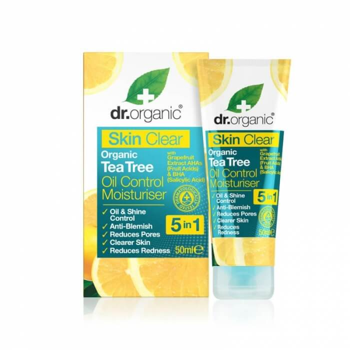 Skin clear Crema viso biologica sebonormalizzante all'olio di tea tree Dr Organic